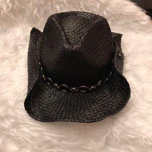 Peter Grimm Black Straw Skull Cowboy Hat